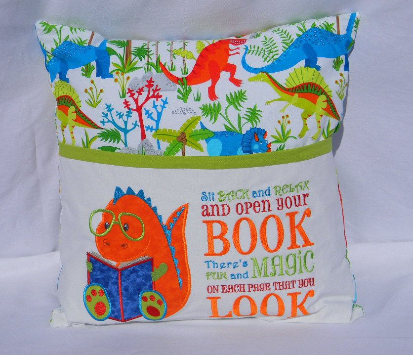 Dinosaur Reading Pillow Book Gift For Readers Travel Kids Birthday Embroidered Personalized Boys By