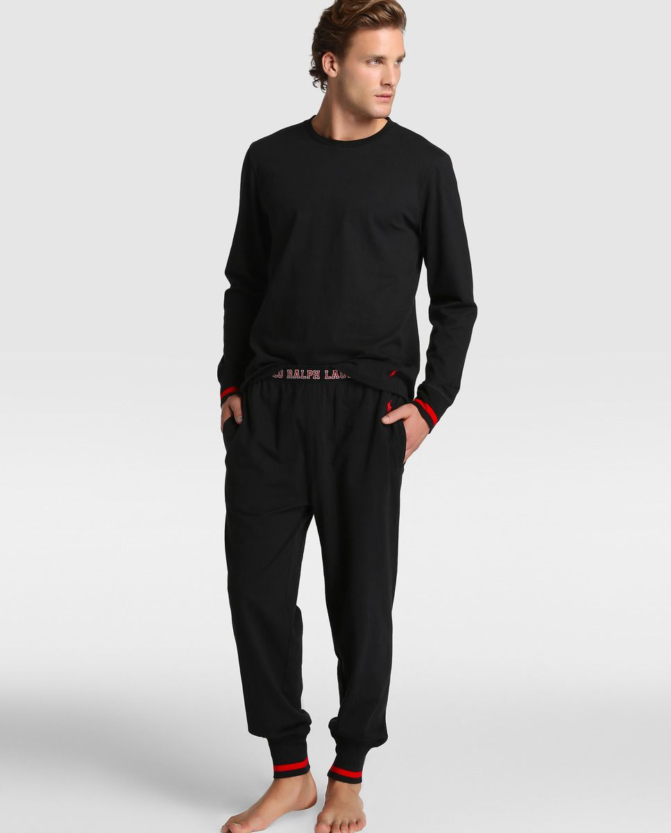 Ralph Negro Hombre De Pijama Lauren Larga Polo Camiseta Manga xwRpqx