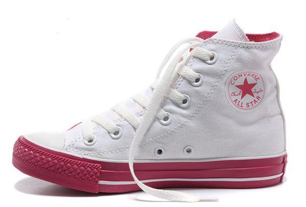 Converse Skor Rea - Genuine Converse All Star High Vit Skor Color röd  kvinnors entering the