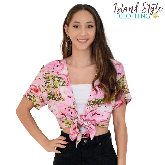 09ba5f2c48bb9 Pink Flamingo Loud Ladies Wrap Top - Hawaiian Print Shirts. Lovely soft and  colour wrap