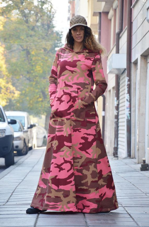 Military Maxi Hooded Dress, Quilted Cotton Kaftan Dress, Plus Size ...