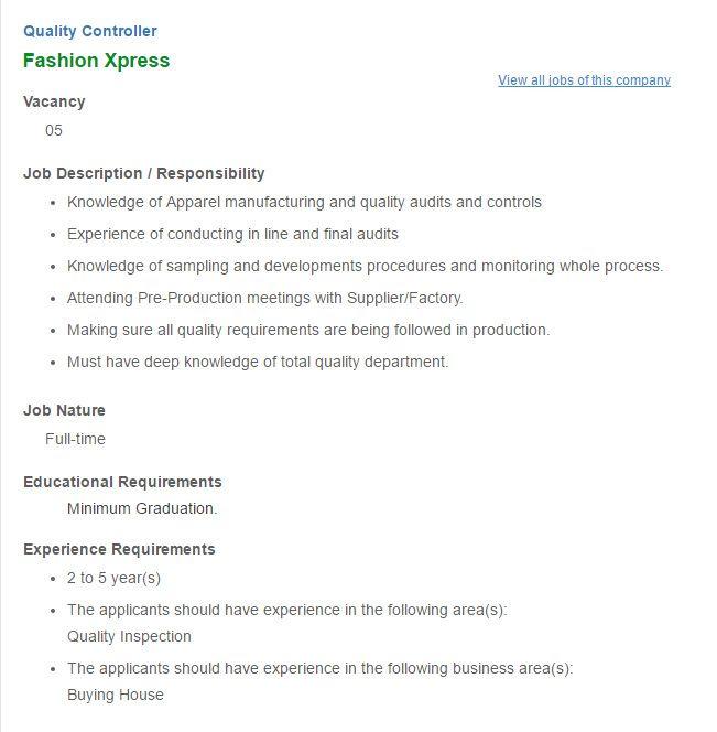 Career  Fashion Xpress  Post Title Quality Controller Fashion