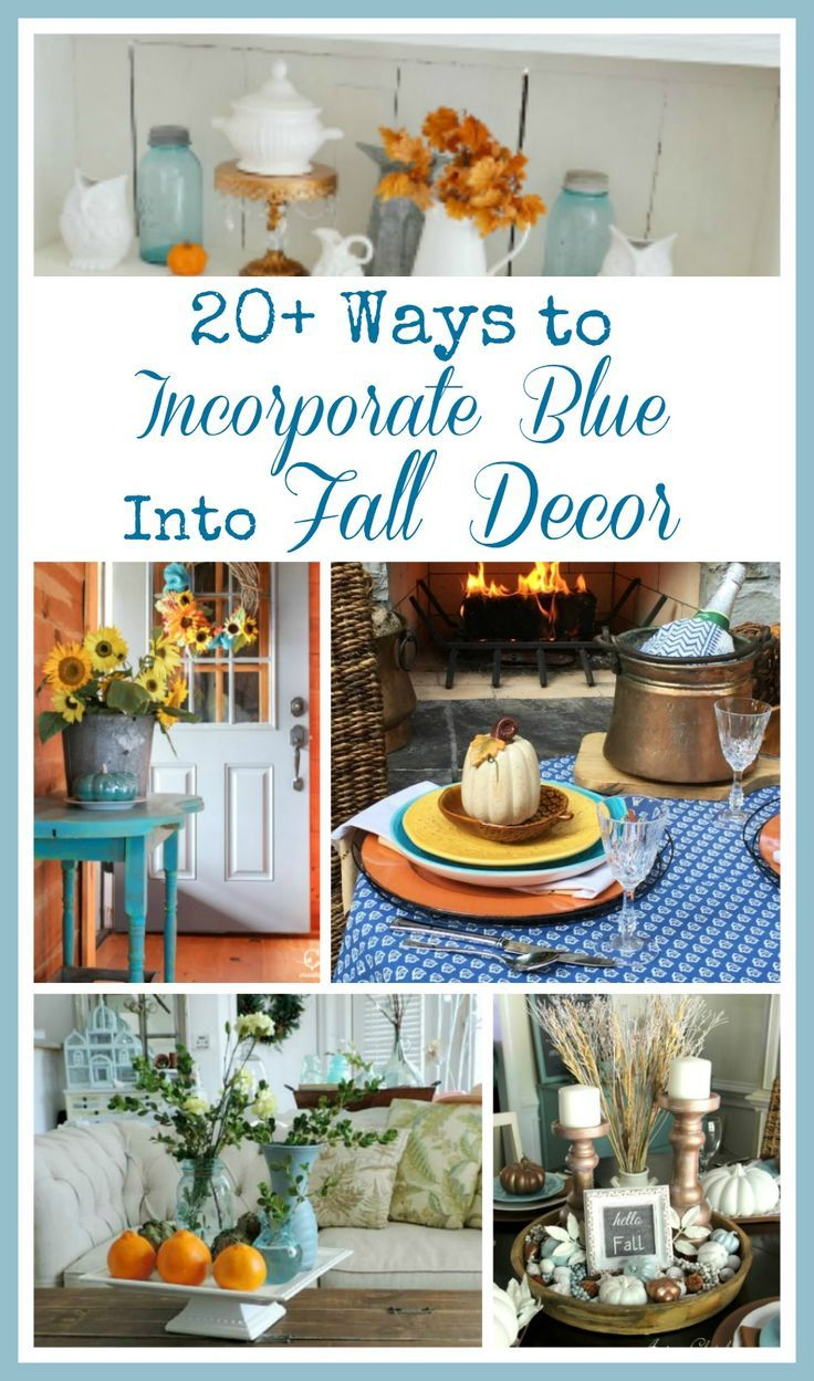 Incorporating Blue Into Fall Decor is easy and simple. From vintage blue bottles to beautiful wreaths to painting pumpkins and expand from there.