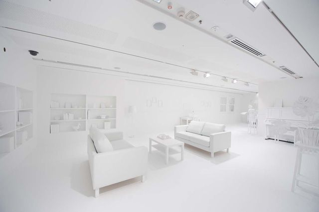 white room white furniture. Yayoi Kusama Obliteration Room A Brisbane White Furniture M