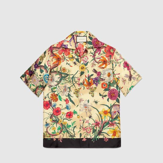 Chemise de bowling en soie à imprimé flora serpent - Gucci Fashion  452842Z658D9275 048c85f44dc