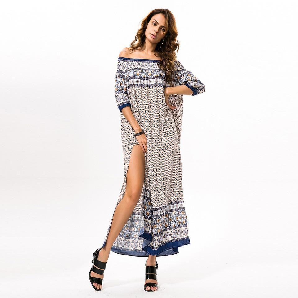 new long dress loose waist summer one shoulder dress party