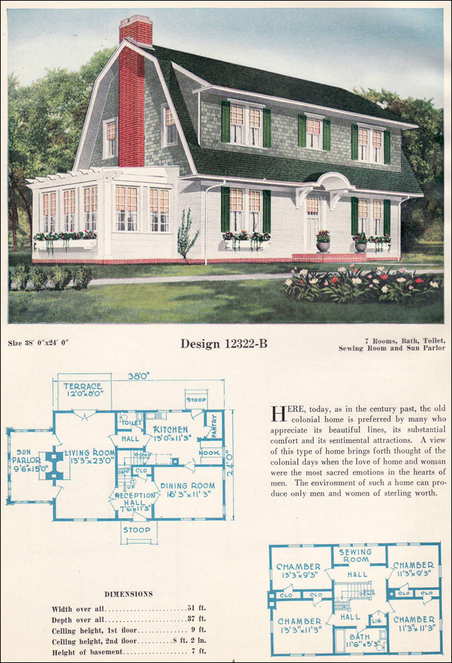 Dutch Colonial Revival Gambrel Roof with Shed Dormers c 1923 C L Bowes Antique Home Plans