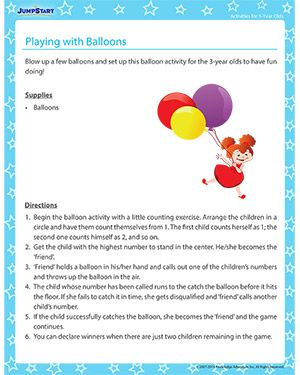 Playing with Balloons - Engage your 3-year old with this fun activity!