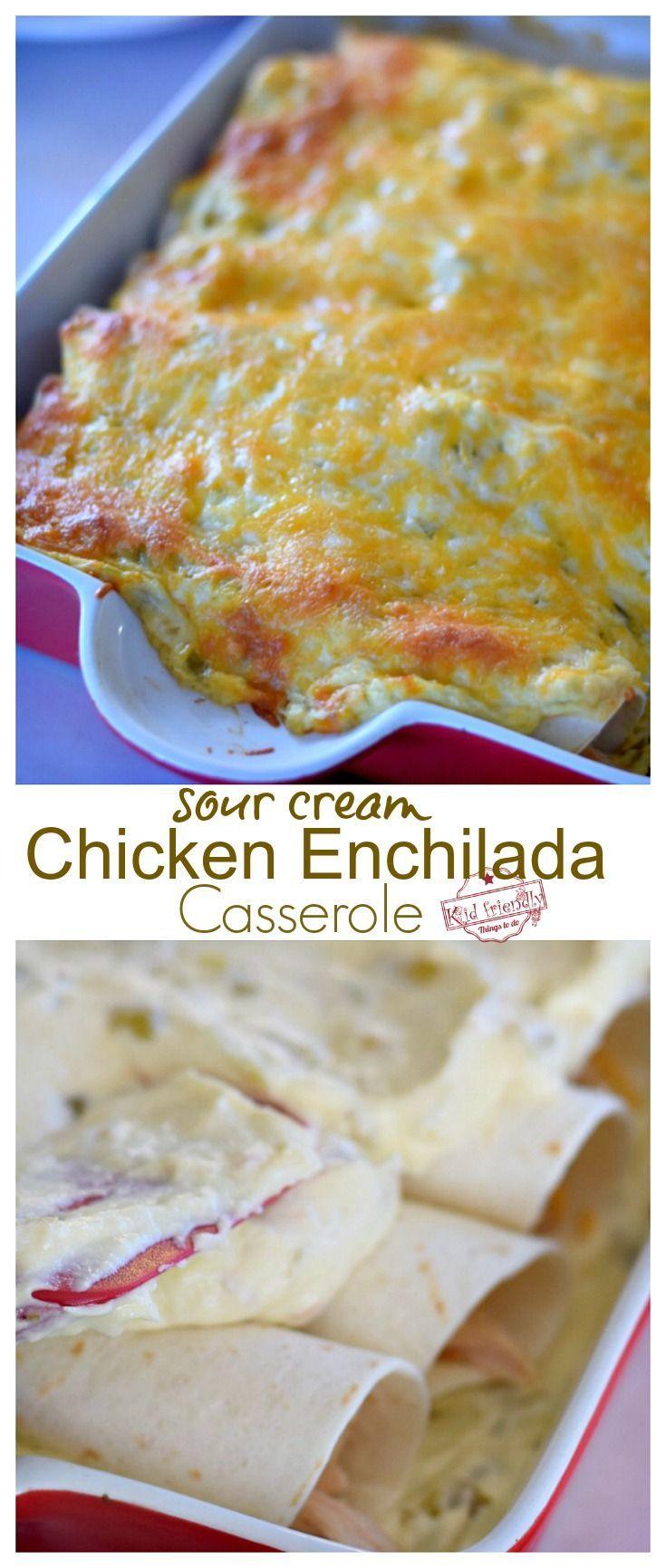 Easy Sour Cream Chicken Enchilada Casserole Recipe Just Like Mom Used To Make Recipe Enchilada Casserole Recipes Chicken Enchilada Casserole Recipe Chicken Enchilada Casserole
