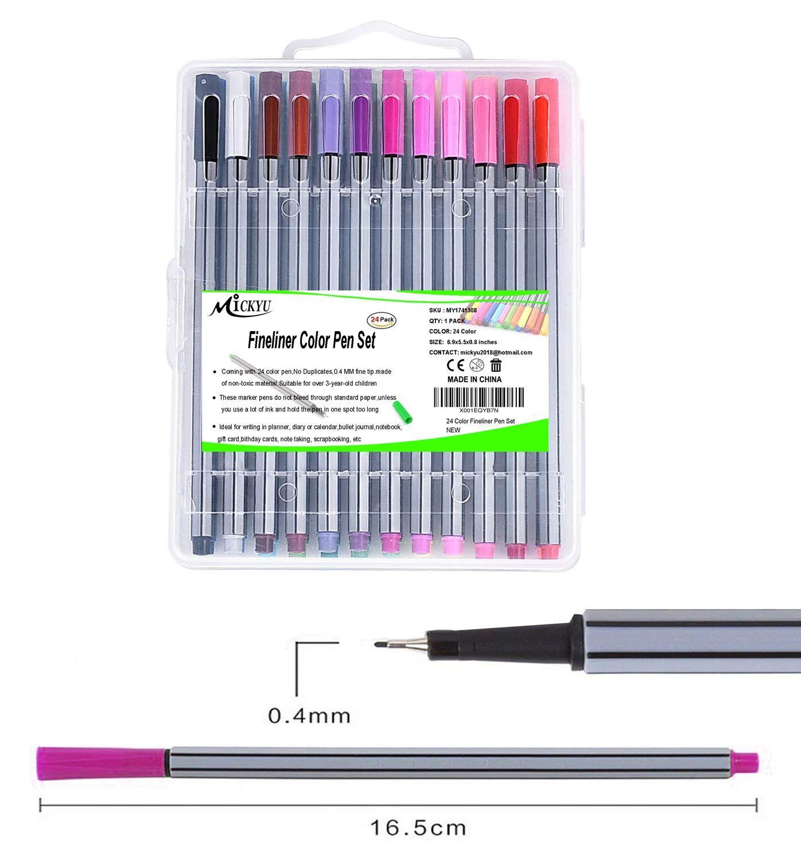 24 Color No Bleed Through Pens Markers Set 0.4 mm Fine Line Colored Sketch Pen
