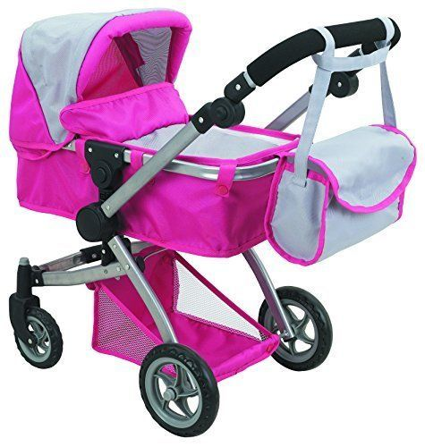 Mommy & Me 2 in 1 Deluxe Leather Doll Stroller Extra Tall 32 High ...