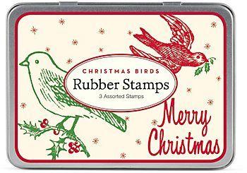 Cavallini Birds Christmas Rubber Stamp Set