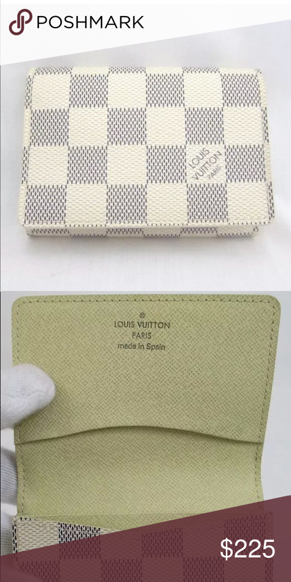 5212251eea4 louis vuitton damier azur business card holder gently used discontinued  item item has 3 card slots holds many cards and cash Louis Vuitton  Accessories Key ...