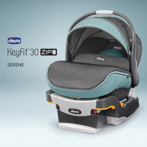Classically Sweet The 1 Rated Chicco KeyFitR 30 Infant Car Seat Arrives In Blissful Serene Fashion Featuring A Swiss Dot Pattern On Twill Denim