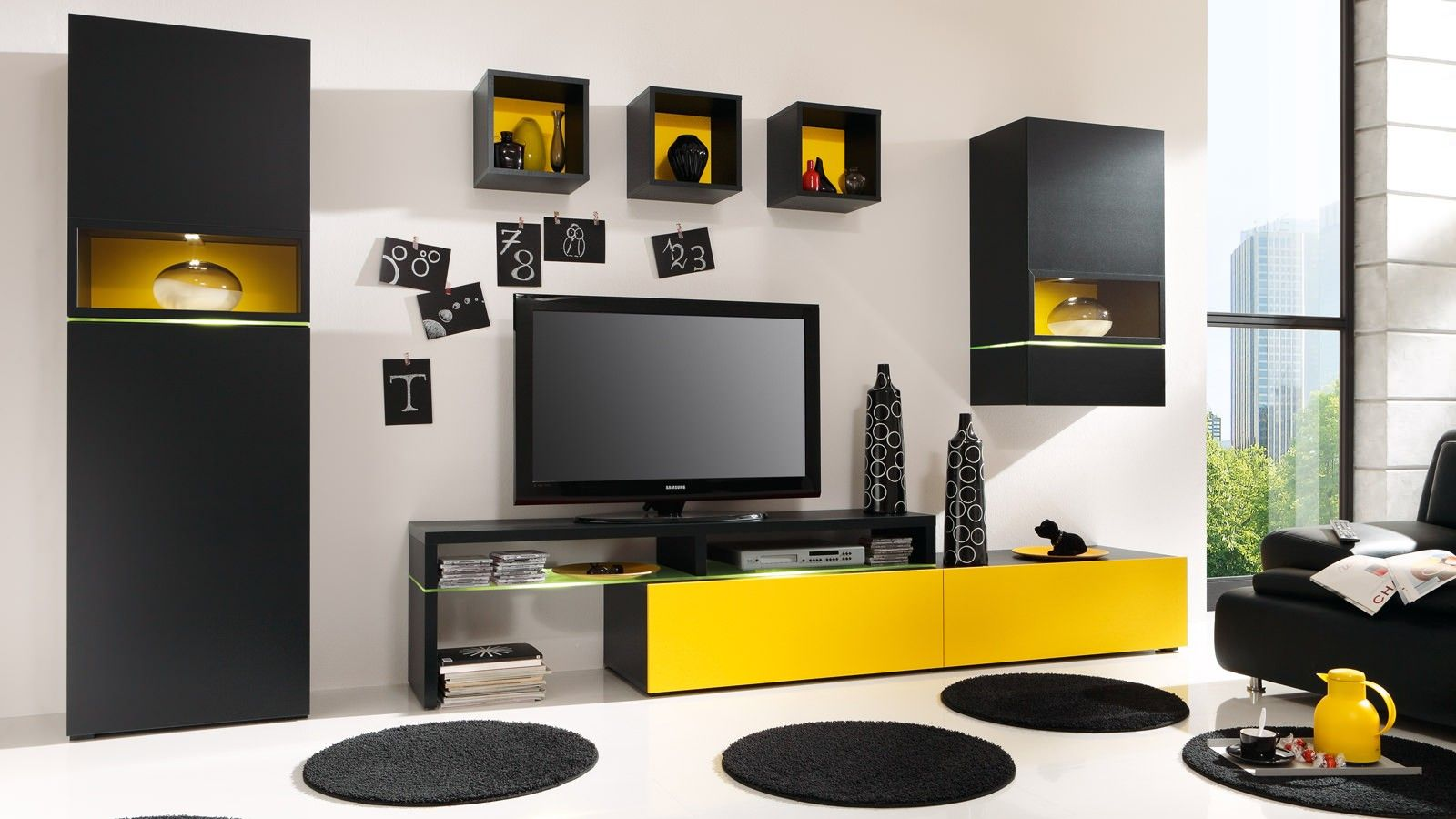 Wohnwand Cameron Mit Tv Teil Und Beleuchtung Moderne Schrankwande Wohnen Wohnwand