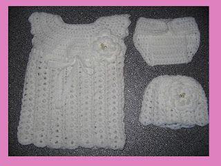 Crochet Babyset Newborn Babykleertjes Haken Jurk Broekje Muts