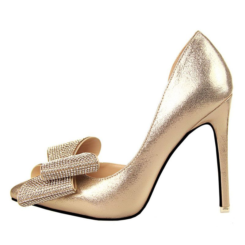 Guoar Women's Stiletto Heel Big Size Shoes Pointed Toe D'Orsay&TwoPiece  Bowtie Pump for Wedding Party Dress Gold