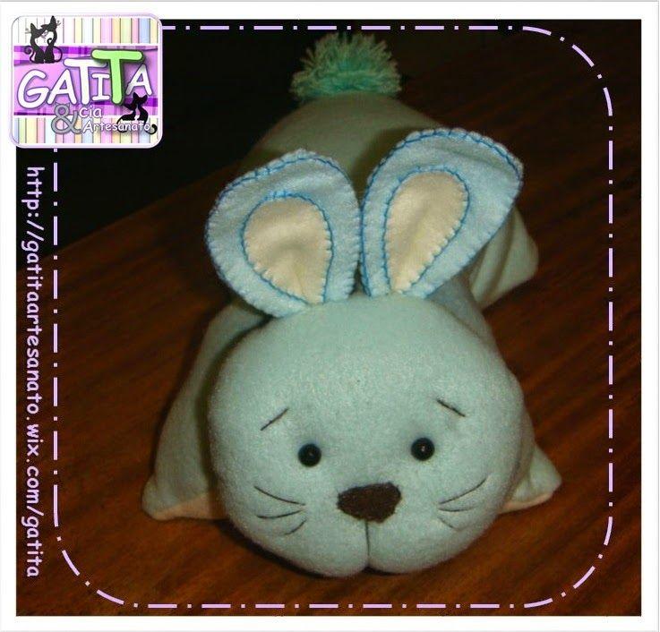 Naninha coelho de feltro, soft ou tecido. Mini travesseiro. Bunny pillow - felt or fabric.
