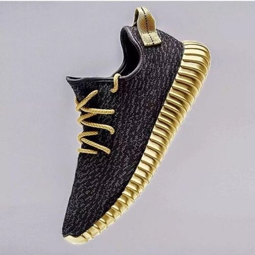 Mens Adidas Yeezy 350 Boost Black Gold