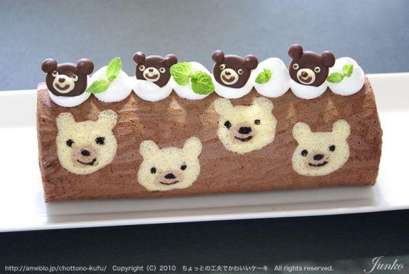 Teddy bear jelly roll cake.
