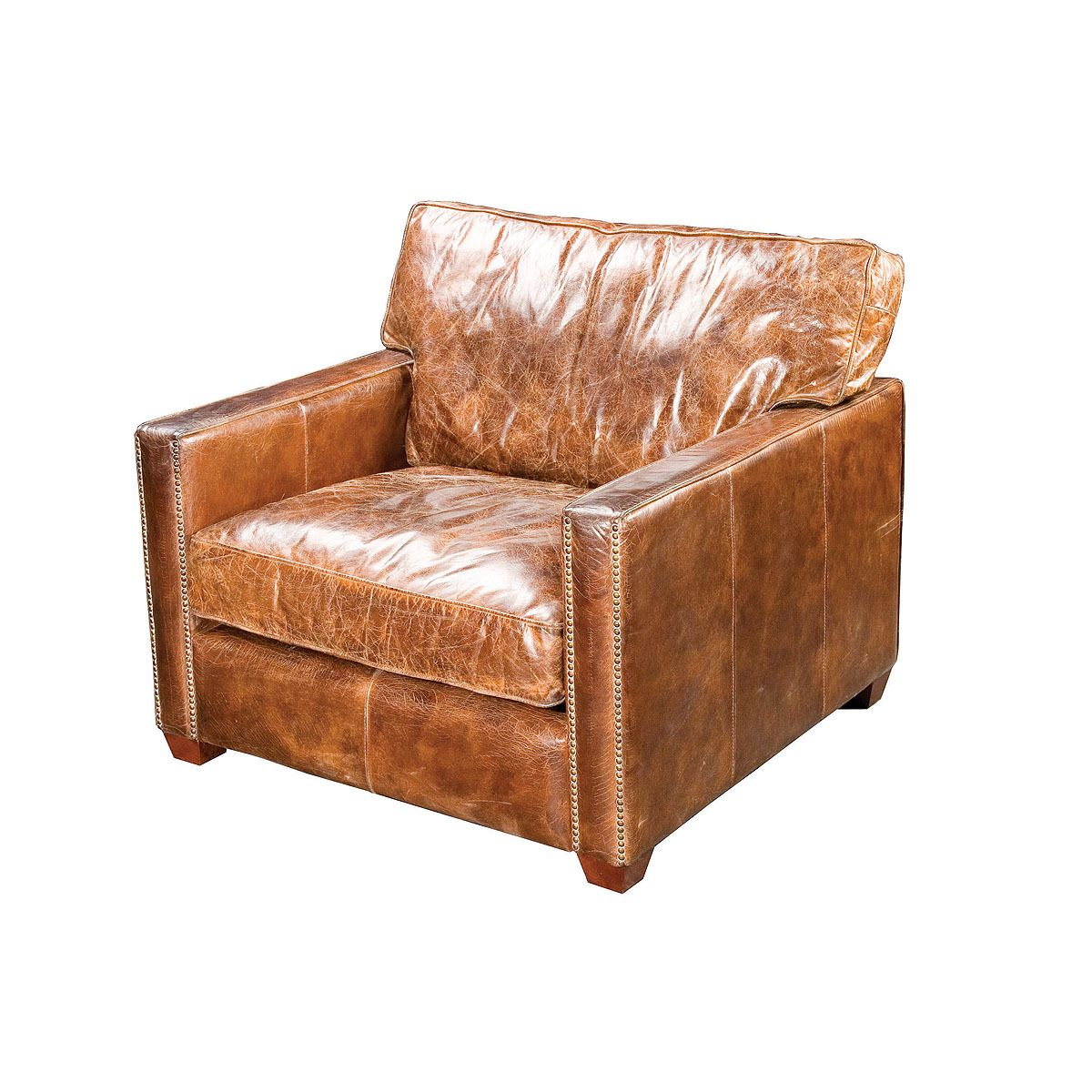 Superbe Larkin Vintage Cigar Distressed Leather Club Chair