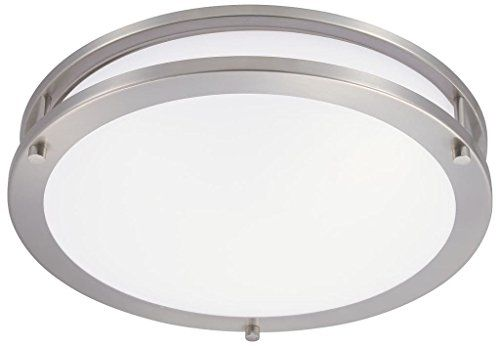 Green Beam 16 Inch Dimmable Sleek Brushed Nickel Led Ceiling Mount Ligh Ceiling Mount Light Fixtures Light Fixtures Flush Mount Bathroom Light Fixtures Ceiling