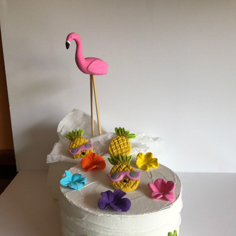 Fondant flamingo cake topper luau cake fondant decoration