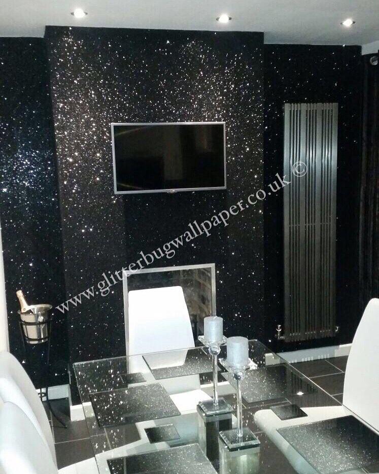 Black Glam Glitter Wallpaper Wallpaper Living Room Glitter Wallpaper Bedroom Goth Home Decor
