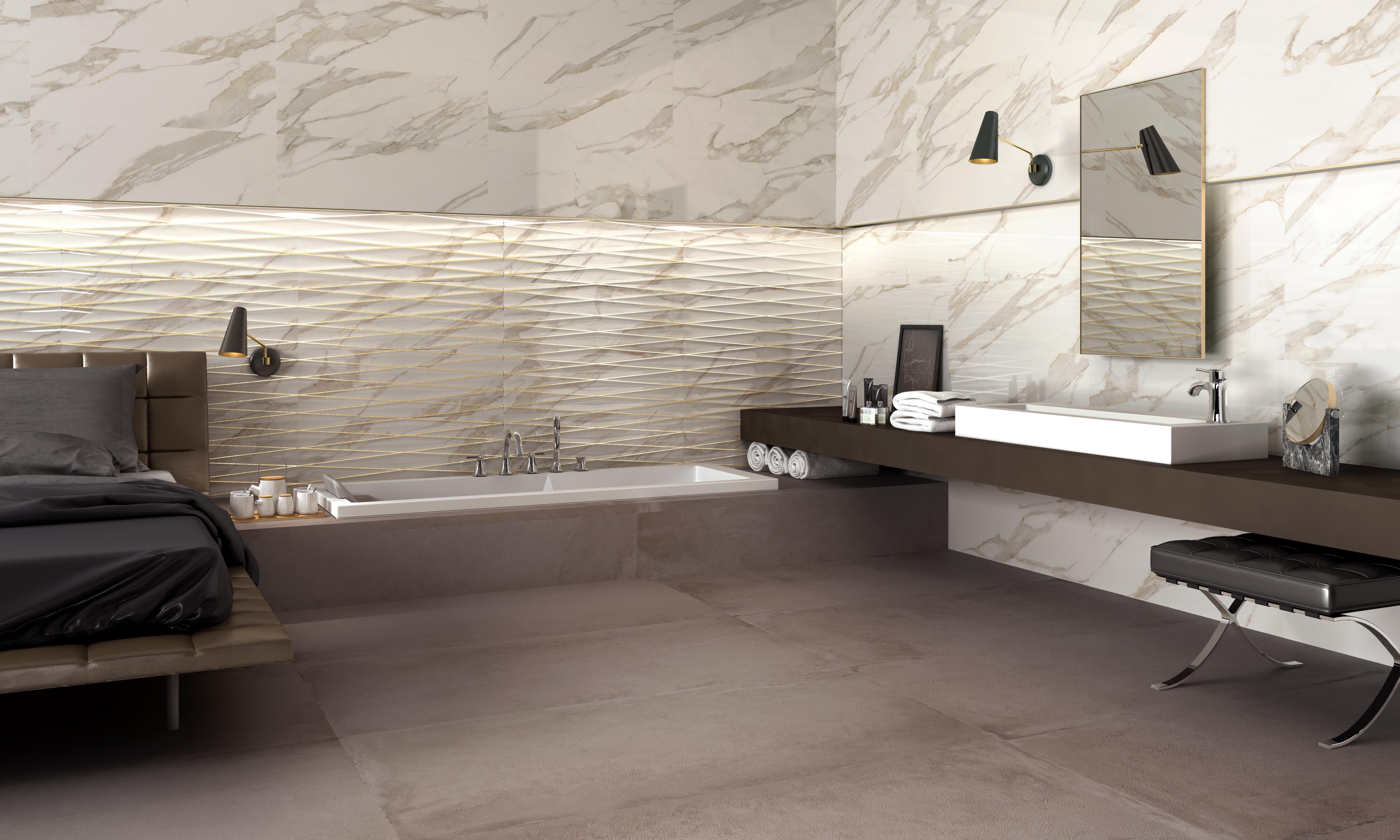 Hotel bagno in gres porcellanato effetto marmo for Bagno effetto marmo