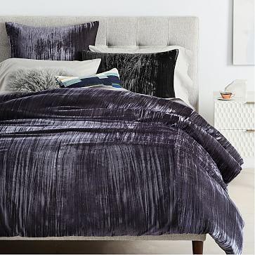 Crinkle Velvet Duvet Cover Shams Slate Westelm Bed Linens Luxury Velvet Duvet Bedding Sets