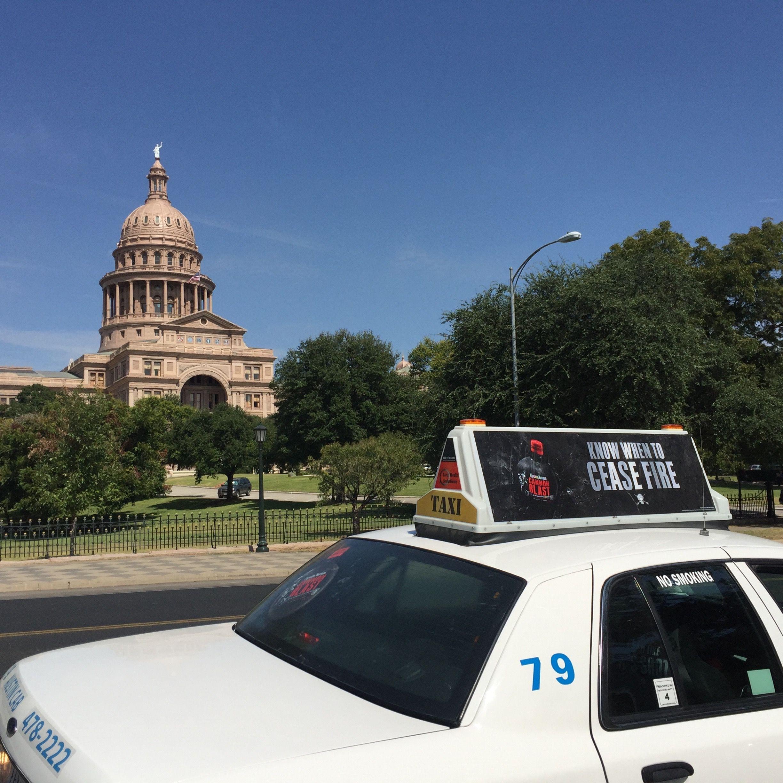 Austin Taxi Advertising #captainmorgan #cannonblast #taxiadvertising #taximediasolutions #austin #texas #ooh #rearwindowadvertising #taxitop #taxiadvertisingaustin