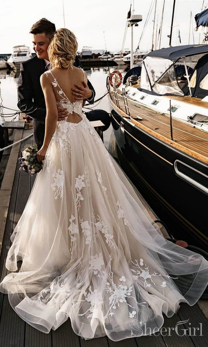 Floral Applique Beach Wedding Dresses Backless Boho Wedding Gown AWD1568