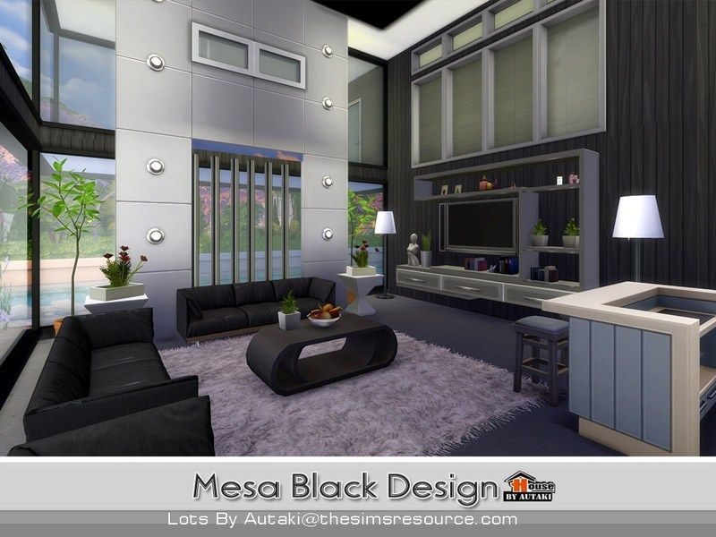 Mesa Black Design The Sims 4 Catalog Sims 4 House Design Sims House Sims House Design