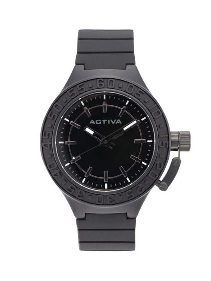 Men's Round Black Rubber Watch by Activa Watches on Gilt.com