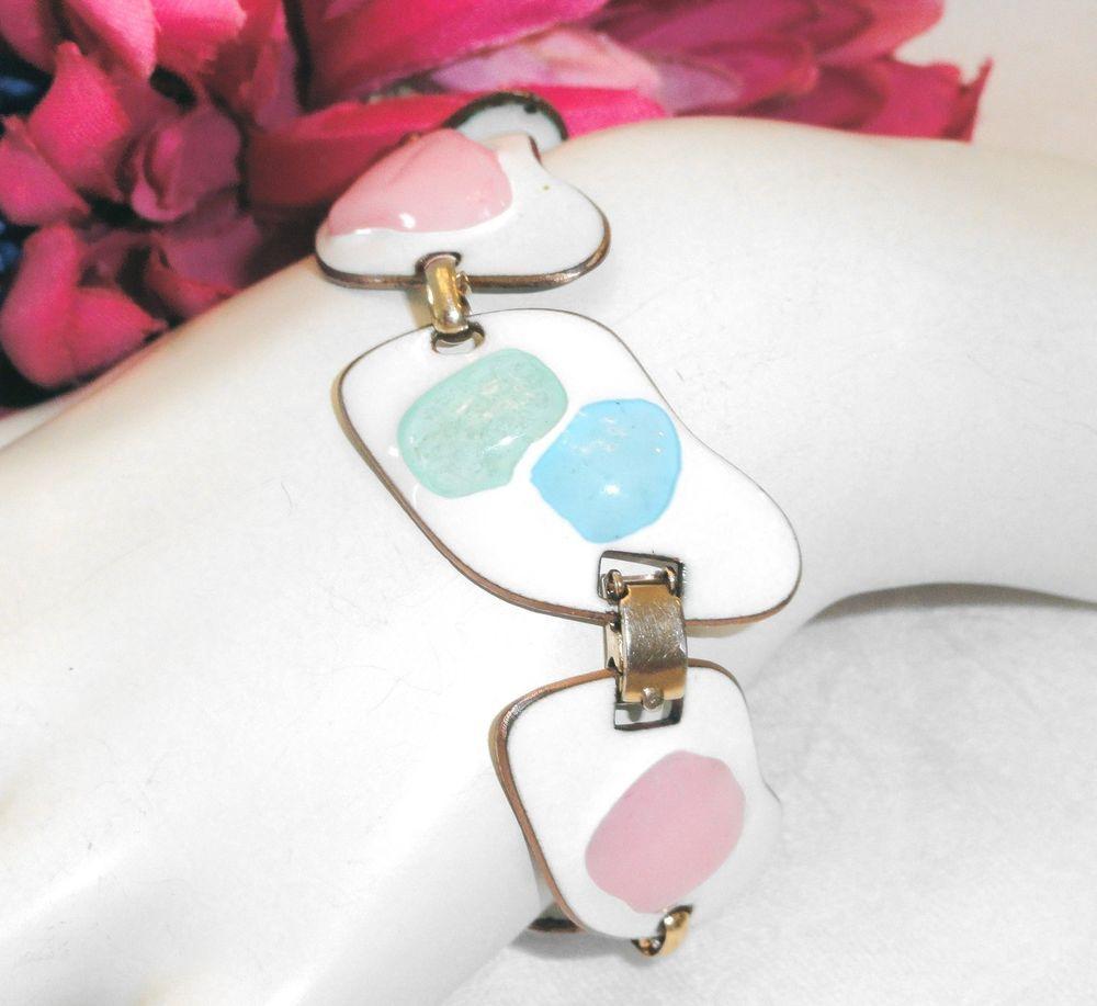 Vtg Mid Century Modernist Kay Denning Enameled Copper Bracelet Pink Blue Green #KayDenning #Link