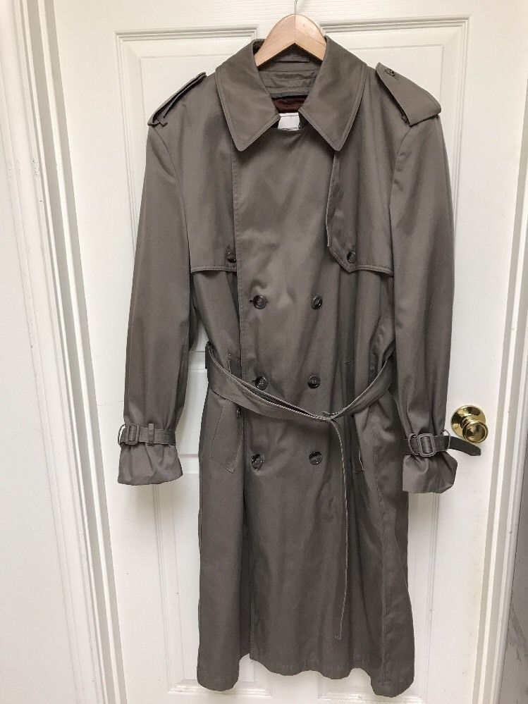7b648116a Towne London Fog Mens 40 Full Length Double Breasted Belted Trench ...