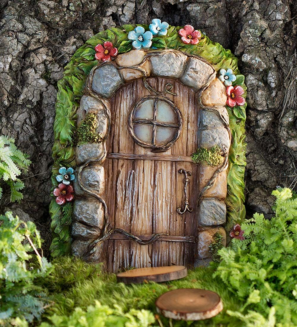 Miniature fairy garden stone door tree accent for the for Idea behind fairy doors