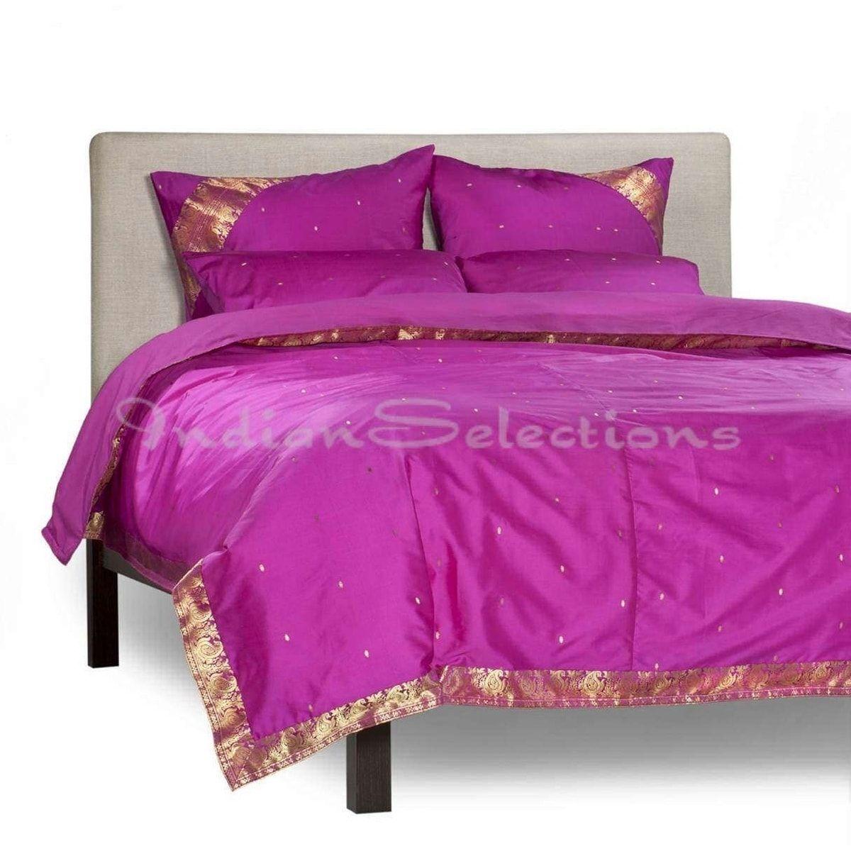 Indian selections violet red piece handmade sari duvet cover set