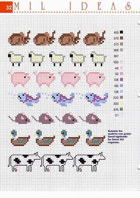 Piccoli Bordi Punto Croce Con Pecore Maiali Delfini Foche 2