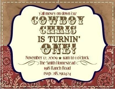 printable personalized cowboy birthday party invitation  birthday, invitation samples