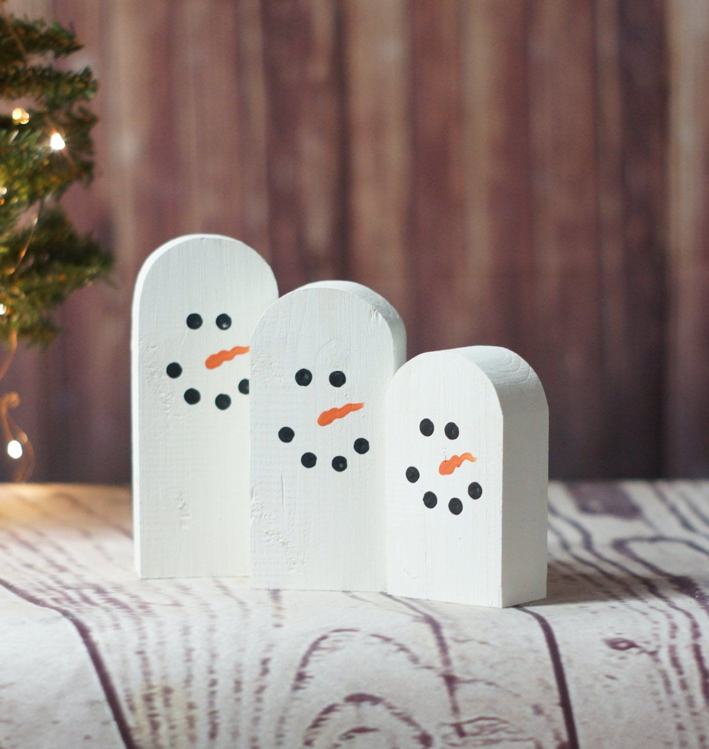 MINI Wooden Snowmen Hand Painted Rustic Christmas Decoration