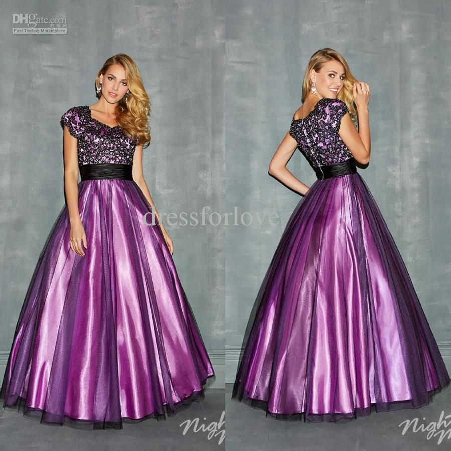 Modest new short sleeve beaded lace applique tulle overlay ball modest new short sleeve beaded lace applique tulle overlay ball gown purple black two tones pageant prom dresses evening formal gown 0060 ombrellifo Gallery