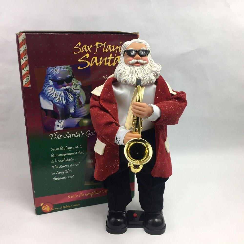 Vintage Gemmy Sax Playing Santa Claus Christmas Music Dancing Figure 2000 Works #Gemmy | Dancing ...