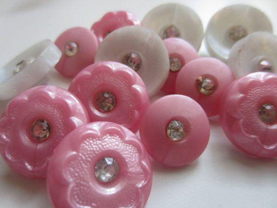 Vintage Buttons  lot of 15 assorted bubblegum by pillowtalkswf, $7.25