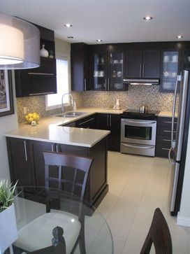 I Love The Material Choices In This Kitchen Strie Floor Tile Gl Mosaic Backsplash Dark Cabinets Light Countertops