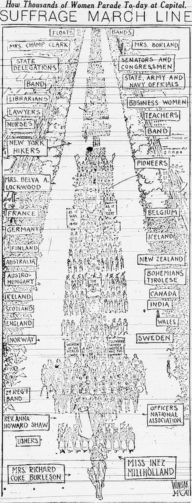 On March 3, 1913, thousands of people marched from the Capitol in Washington, D.C., to support woman suffrage in the United States.
