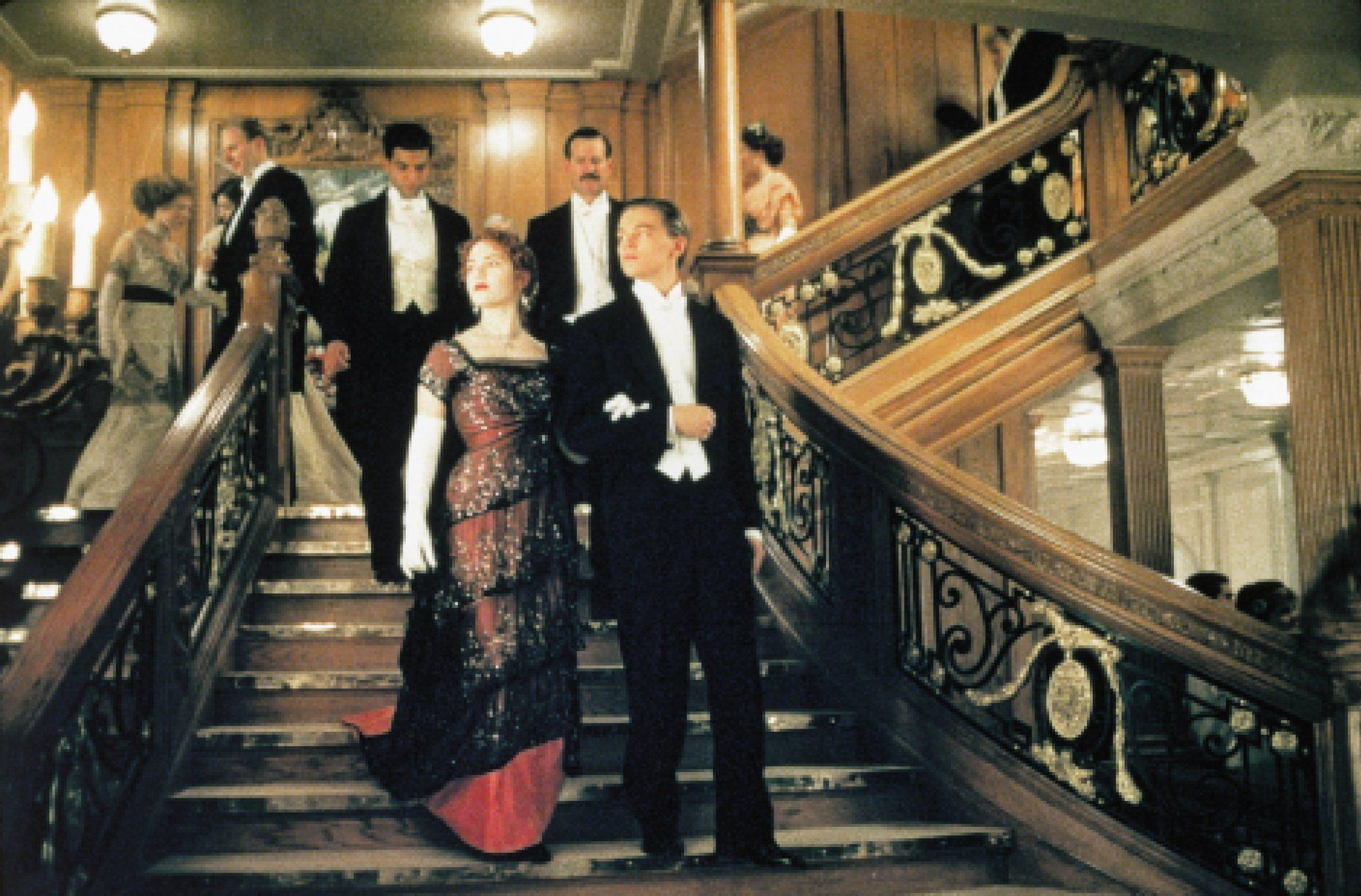 Jack walking Rose down the grand staircase. | Titanic ...