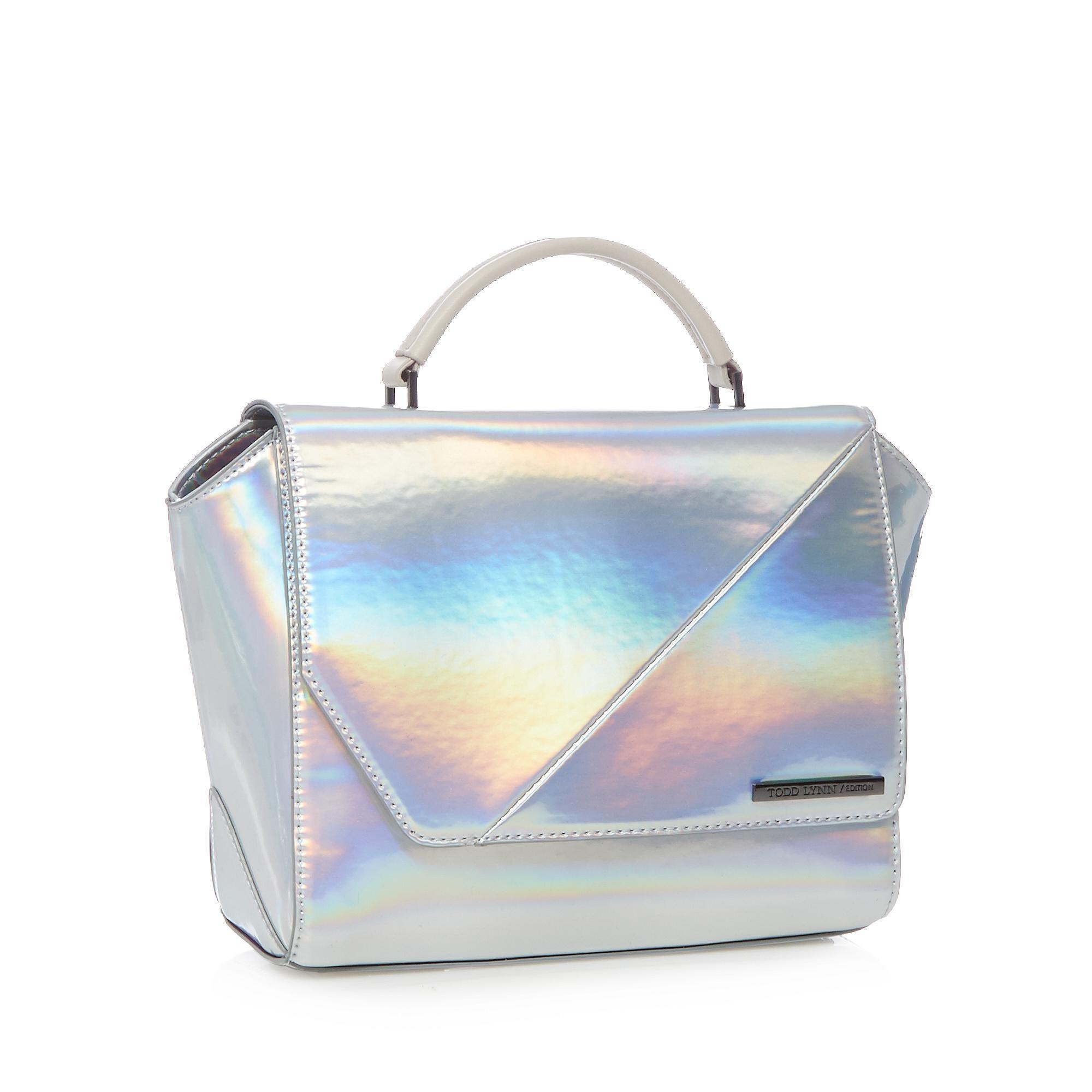 Todd Lynn Designer Silver Kitty Iridescent Satchel Handbags Purses Debenhams