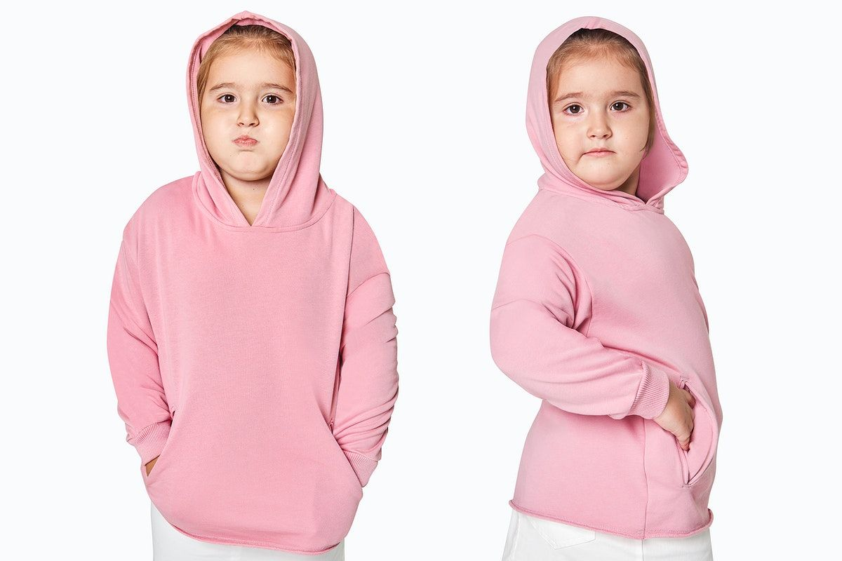 Download Download Premium Illustration Of Psd Girl In A Pink Hoodie Mockup 2680476 Hoodie Mockup Clothing Mockup Kids Outfits