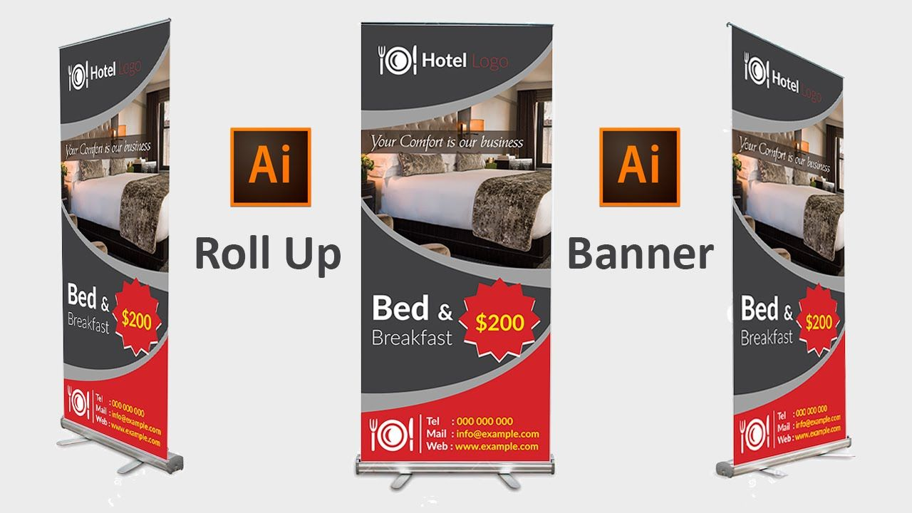 how to design a roll up banner in adobe illustrator cc cs6 cs5
